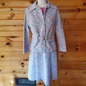 1970s Unlabeled Pink & Blue Fit & Flare Dress & Bl